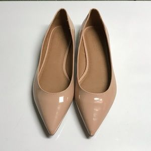 ASOS Lacey Patent finish pointed toe flats tan